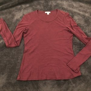 James Perse burgundy sheer slub long sleeve crew